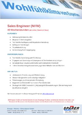 Job Stellenanzeige Sales Engineer Verkäufer Techniker Außendienst Graz