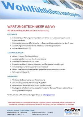 Job Stellenanzeige Wartungstechniker Graz